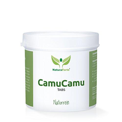 NaturaForte Camu-Camu Beeren Tabs Hochdosiert aus CamuCamu Pulver - 100 Tage Premium Qualität - Natürliches Vitamin C - Veganes Superfood mit Eisen und Zink - 300 Stück