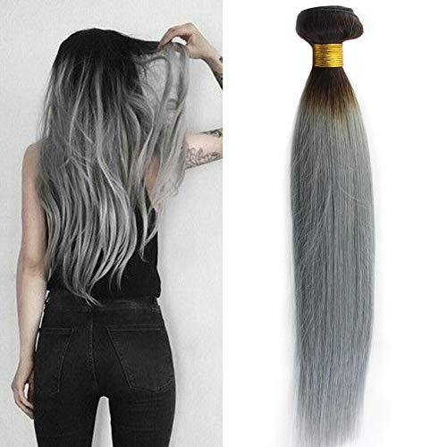 Laavoo 20 pollice sew in extension capelli tessitura ombre nero a argento/silver 100grammo extension capelli veri brasiliani a matassa liscio dritto