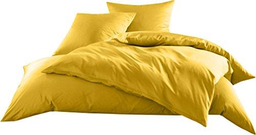 Mako-Satin Baumwollsatin Bettwäsche Uni einfarbig zum Kombinieren (Kissenbezug 80 cm x 80 cm, Gelb) (Gelb Voll Bettwäsche)