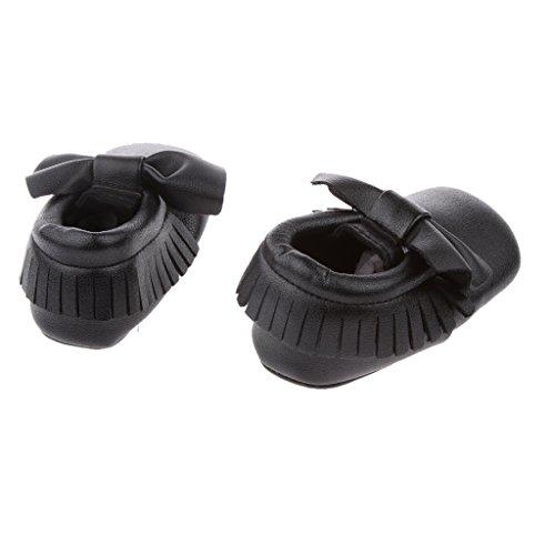 Generic Bébé Enfants Chaussures Premiers Pas avec Bowknot Mocassin en Cuir Souple Confortable Crèche - Rouge, 11cm Noir