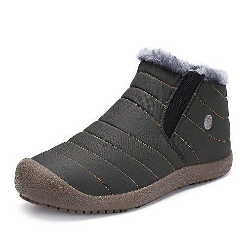 Schneestiefel Warm Gefüttert Boots Wasserdicht Stiefel Winterschuhe Winterstiefel Kurzschaft Outdoor Schlupfstiefel für Herren Damen (Kinder Für Faux-pelz-stiefel)