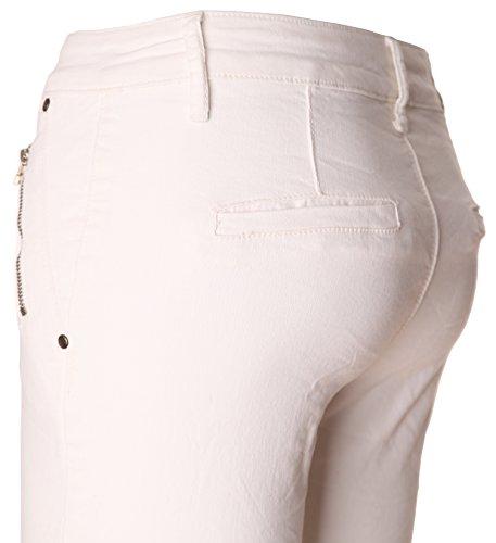 BASIC.de Skinny Hose Biker Weiss Zippertaschen