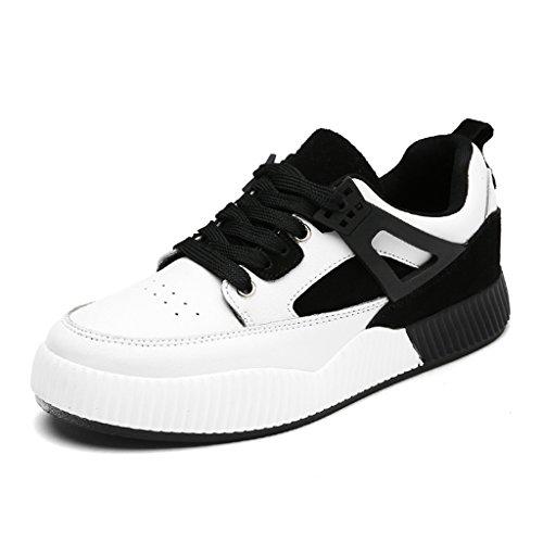 HWF Damenschuhe Frühlings-Sport-weiblicher beiläufiger flacher Platten-Schuhe starke untere laufende Studenten-einzelne Schuh-Frauen-Schuhe ( Farbe : White black , größe : 37 )