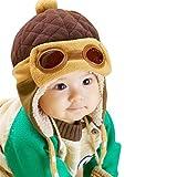 EDOTON Cappello del Bambino Berretto Beanie Pilot Bambini Invernale Caldo Cappello con Orecchie per Cappelli da Bambino 1-3 Anni (caffè)