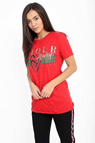 Mesdames Amour toujours Slogan Imprimé T Shirt EUR Taille 36-42 Kaki
