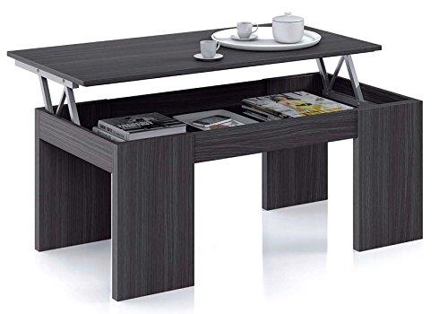 PEGANE Table Basse à Plateau Relevable Coloris Gris Cendre - Dim : 100 x 50 x 42 cm