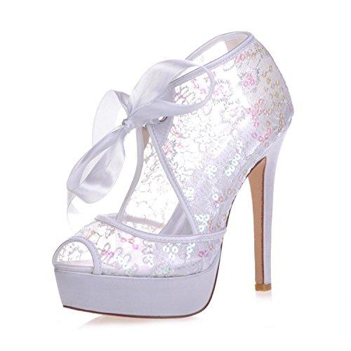 L@yc 3128-34 scarpe da sposa corte con tacco a spillo in pizzo con plateau e scarpe con tacco a spillo da donna , white , 38