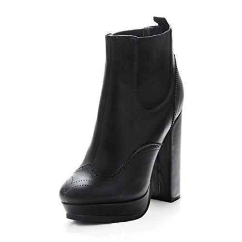 Onlymaker Damenschuhe High Heels Blockabsatz Ankle Boots Stiefeletten Schwarz