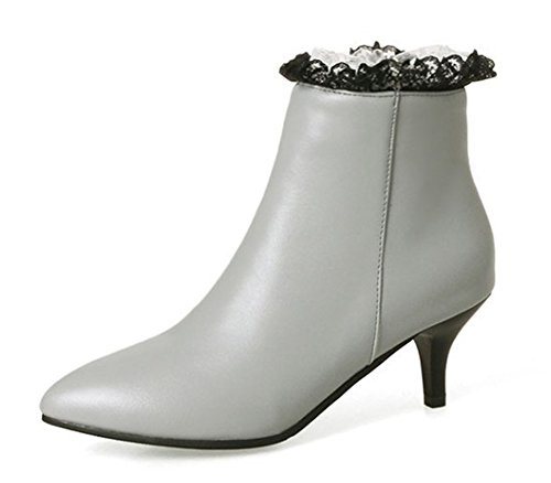 Bottines Mode Gris Femme Pointues Aisun Cheville Dentelle wgS5x0q