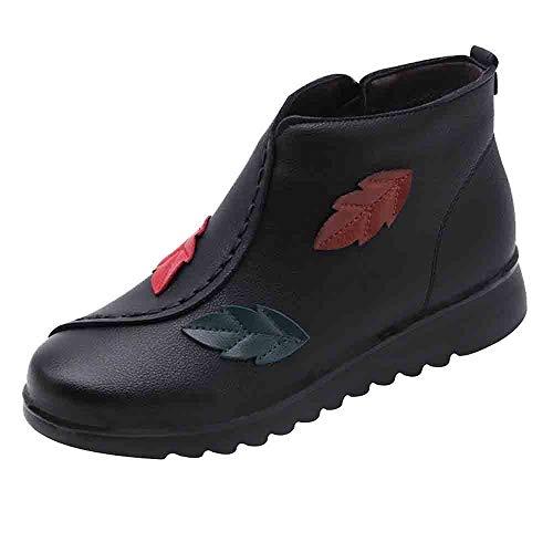 LuckyGirls Botas De Mediana Edad Botines Hojas Forrada de Piel Zapatos De...
