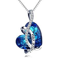 Idea Regalo - Collana da Donna con cuore di cristallo Swarovski® e incisione personalizzata, argento