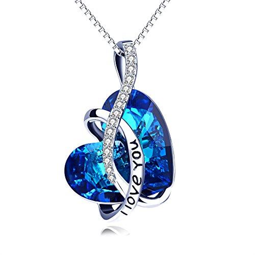 Collana da donna con cuore di cristallo swarovski® e incisione personalizzata, argento