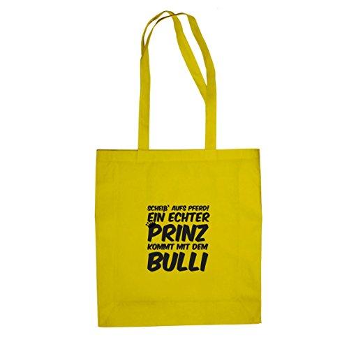 Ein echter Prinz kommt mit dem Bulli - Stofftasche / Beutel Gelb