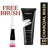 Makhai Blackhead Remover Mask, Bamboo Activated Charcoal Peel Off Mask for Bright Skin, Deep Cleansing Black Face Mask – 60 gm