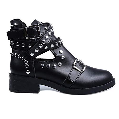 JUNMAN Botas Mujer PU Zapatos de Cuero Otoño Clásico Femenina...