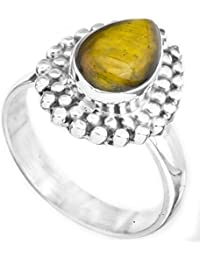 La piedra preciosa con granos de Anillo - Plata de Ley - Color del ojo del tigre anillo tamaño 8,5