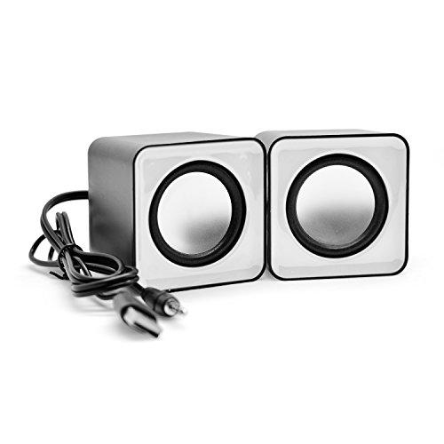 Preisvergleich Produktbild Incutex Lautsprecher Sound Boxen Multimedia Speakers für PC Laptop mini audio speaker,  weiß-schwarz