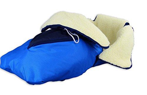 Erst-Holz® 24.30-blau Fußsack mit Lammwolle Winterfußsack Schlittensack für Schlitten oder Kinderwagen