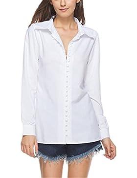 Tayaho Donna Sciolto Classico Camicetta Maglietta Lunga Comode T-Shirt Maglia Manica Lunga Casual Elegante