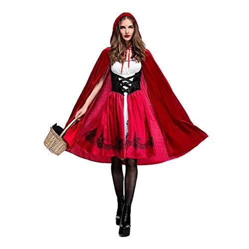 rson Frauen Rot Halloween-Kleid mit Kapuze Robe Karneval Märchen Cosplay ()