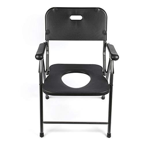 LQYS WC-Sitz, Badezimmer Faltbare Bad Hocker, geeignet for Schwangere Frauen, ältere Menschen und Menschen mit eingeschränkter Mobilität, Schwarz