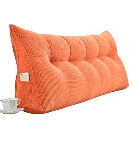 Uus Cuscino per schienale grande con cuscino triangolare come cuscino per la lettura Cuscino lombare Cuscino per testiera Testiera imbottita Letto matrimoniale Schienale rimovibile lavabile (arancione