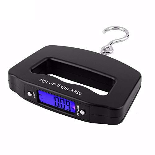 XOSHX Mini Handheld Kunststoff 50Kg / 10G LCD Digital Angeln Hängen Elektronische Waage Taschenhaken Gewicht Gepäckwaage Taylor Timer