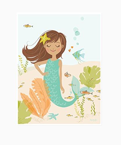 Sea Urchin Studio Mermaid Art Poster, Brunette, 12 x 16 by Sea Urchin Studio -
