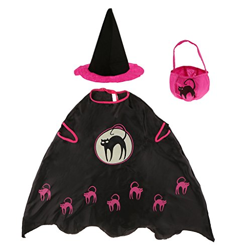 (MagiDeal Halloween Hexe Zauberer Umhang Karneval Fasching Zauberer Kostüm Cape mit Hut und Tasche Set - Kinder)