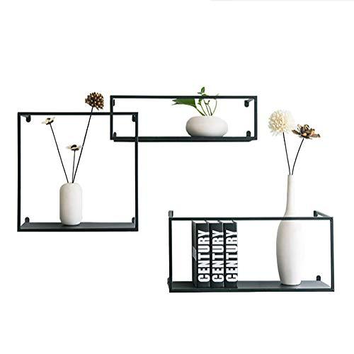 SHGK 3-Stufiges Bücherregal Wand Montiert Schwimmende Regale Dekorativ Retro-Stil Eisenspeicher-Display BüCherregal-Set Für Wohnzimmer Büro Und Mehr -