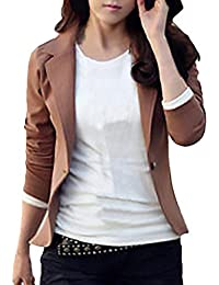 Chaqueta De Traje Mujer Primavera Otoño Fashion Slim Fit Basic Oficina  Camisa Manga Larga De Solapa con Botonadura Unicolor Casual… a492cf8ef82a