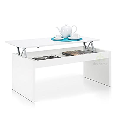 Lift Top Coffee Table , finish white gloss , dimensions 100 cm x 50 cm x 43/52cm Height