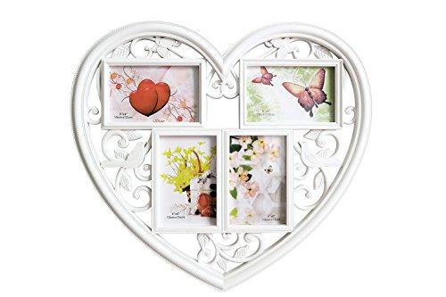 Guteinte cornice portafoto da parete a forma di cuore,cornice multipla per 4 foto 4