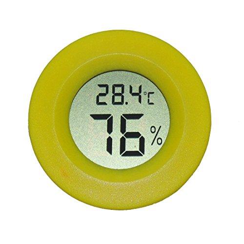 AGEG Runder Digitaler Elektronischer Thermometer Feuchtigkeitsmesser Hygrometer Humidiometer mit LCD-Anzeige für Familie Büro Fabrik Hundehütte Reptil Behälter (Gelb) (Familie Thermometer)