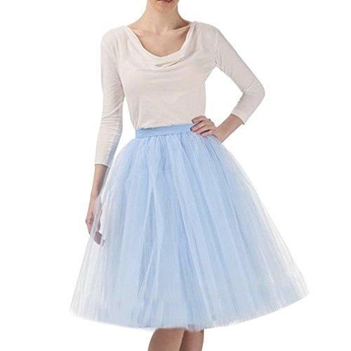 Wedding Lady - Abito da donna, gonna al ginocchio, tutù in tulle da sposa Light Blue