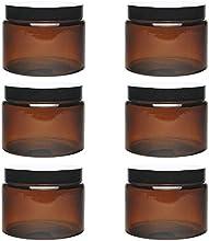 Viva-Haushaltswaren-6cristal Tiegel 500ml/pomada Tiegel/Crema Tiegel de marrón cristal, incluye etiquetas