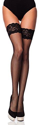 Merry Style Damen Halterlose Netzstrümpfe MSSS003 (Nero, M/L (40-44))