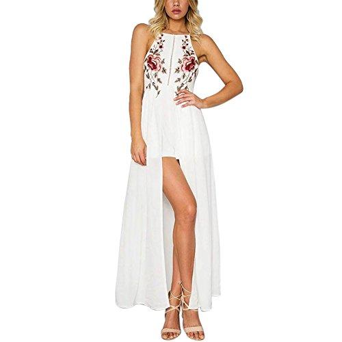 ROPALIA Damen Chiffon Stickerei Blumen Spaghetti Strap Split Lange Kleider White