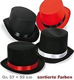 Gentleman Zylinder Herrenhut Edelzylinder Topper Kopfbedeckung Bräutigam Jungeselle Ehrenmann sortierte Farben und Größen Satinoptik Mottoparty Party (57, schwarz/rot)