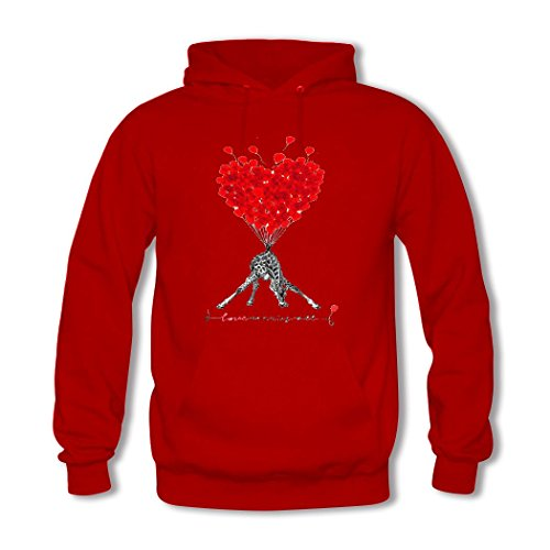 HKdiy Balloon Graphic Giraffe Custom Men's Classic Hoodie Red