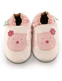 Snuggle Feet - Chaussons Bébé en Cuir Doux - Rose avec Chaton Mignon
