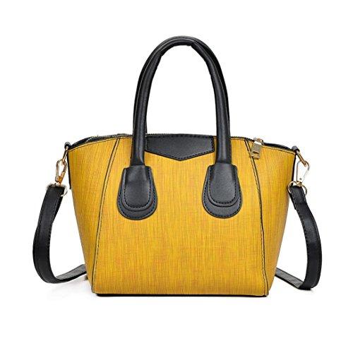 Damen Handtaschen, Huhu833 Damen mode Handtasche Schultertasche Casual Tote Zipper Bag Gelb