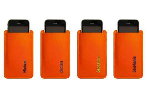 Custodia in feltro per iPhone 4/S, 3, Arancione, con nome ricamato–nome o richiesta concetto–Info sotto la descrizione del prodotto. Stickfarbe lila Stickfarbe lime
