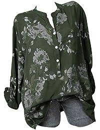 Mujeres Tops Rovinci Las Mujeres cómodas de Moda con Cuello en V de impresión de Bolsillo Blusas Casuales Solapa Cuello Blusas Sueltas…