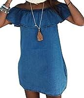 X-Future Women Strapless Ruffles Loose Fit Pockets Pencil Mini Dress Blue US L