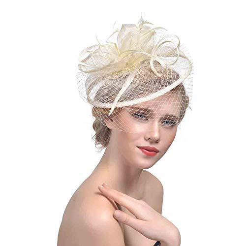 Y.L Master Damen Fascinator Feder Gaze Blume Mesh Haarclip Cocktail Hochzeit Derby Hut Kopfstück Clip Stirnband,Beige Beige Mesh-hut
