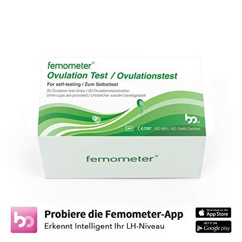 Femometer 20-Tests Ovulationtest Streifen mit App (iOS & Android), hochsensibel und genaue Ergebnisse