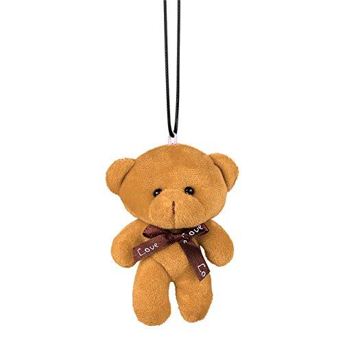 Buy Beauty 1PC Car Pendant Plush Stuffed Cute Bear Decoration Hanging Ornament Automobile Rear View Mirror Suspension Tie Bear Accessories Gift (Color Khaki)