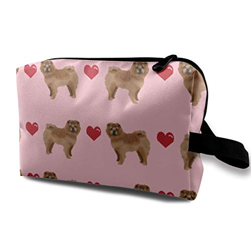 Chow Love Hearts Dog Portable Travel Makeup Cosmetic Bags Organizer Multifunction Case Toiletry Bags White Hearts Snap