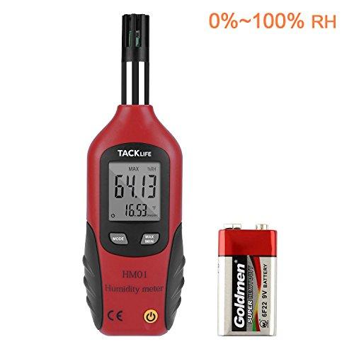 Tacklife HM01 Klassisches Feuchtigkeitmessgerät Temperaturmesser LCD Digital Thermometer Luftfeuchtigkeit Meter für Industrie, Landwirtschaft, Meteorologie und Alltag, Rot-Schwarz